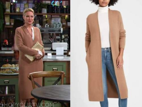 sharon newman, sharon case, camel cardigan, the young and the restless