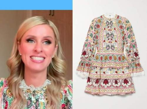 nicky hilton, good morning america, floral mock neck dress