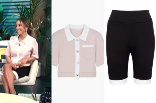 lilliana vazquez, E! news, daily pop, pink knit polo, black biker shorts