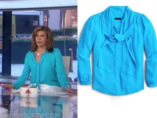 hoda kotb, the today show, blue tie neck blouse