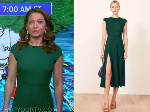 ginger zee, good morning america, green midi dress