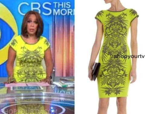 gayle king, cbs this morning, yellow printed dress