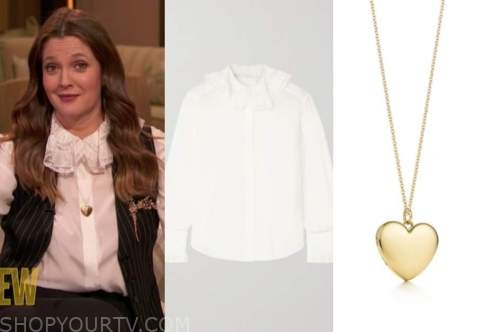 drew barrymore, drew barrymore show, white lace ruffle blouse, gold heart pendant necklace