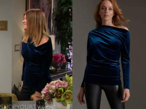 michelle stafford, phyllis newman, the young and the restless, blue velvet top