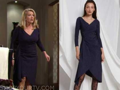 nikki newman, melody thomas scott, the young and the restless, navy blue pinstripe dress
