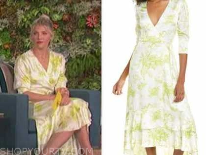 amanda kloots, white and yellow floral midi dress, the talk