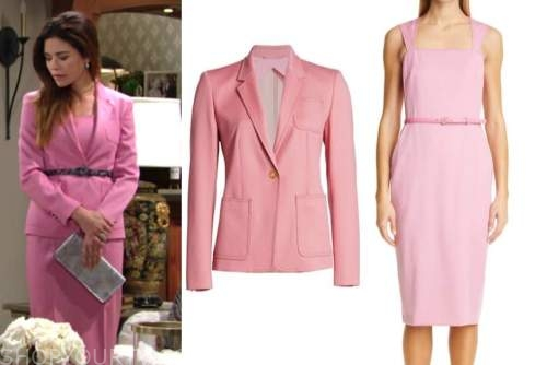 victoria newman, amelia heinle, the young and the restless, pink wool blazer and dress suit