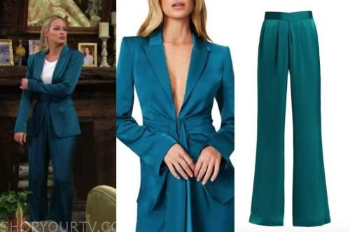 sharon newman, sharon case, teal satin blazer and pant suit, the young and the restless