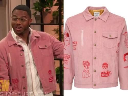 chef Kwame Onwuachi, drew barrymore show, pink doodle corduroy jacket