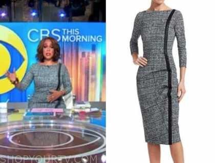 gayle king, grey tweed side stripe dress, cbs this morning