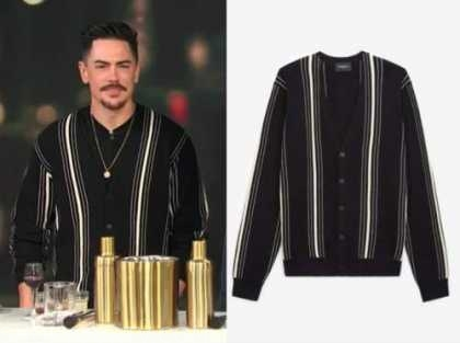 tom sandoval, E! news, daily pop, black striped cardigan sweater