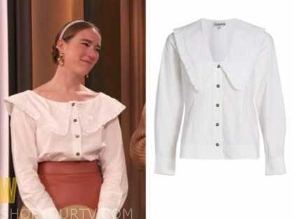 drew barrymore show, young emperors, white ruffle trim collar shirt, Isabelle Chaput