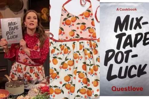 drew barrymore, drew barrymore show, cookbook, orange fruit apron