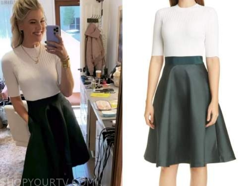 amanda kloots, the talk, white and green knit flare dress