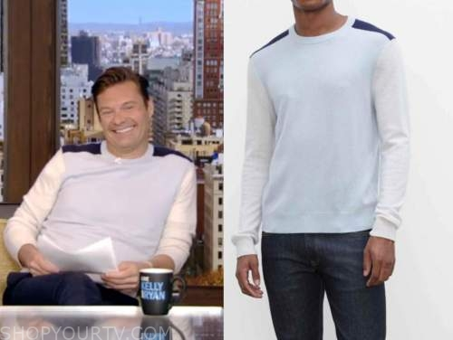 ryan seacrest, live with kelly and ryan, blue colorblock cashmere sweater