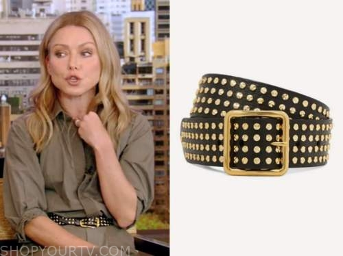 live with kelly and ryan, kelly ripa, black and gold studded belt