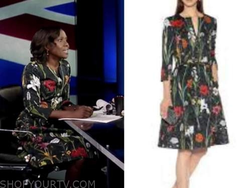 deborah roberts, abc news, prince philip funeral coverage, floral dress