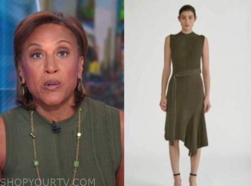good morning america, green knit dress, robin roberts