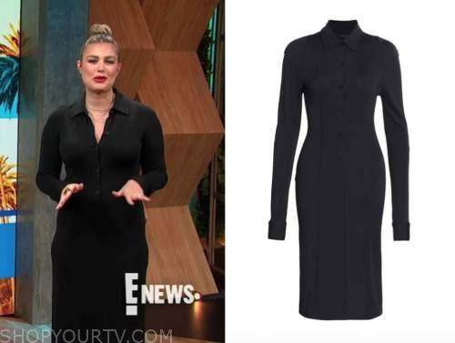 carissa culiner, E! news, daily pop, black knit polo midi shirt dress