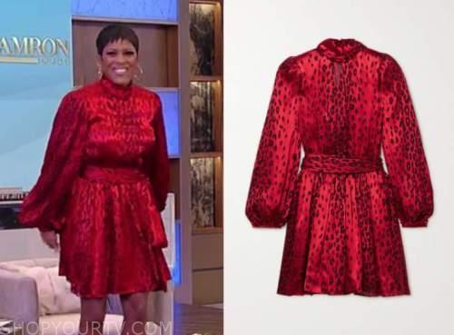 tamron hall, tamron hall show, red leopard mock neck dress