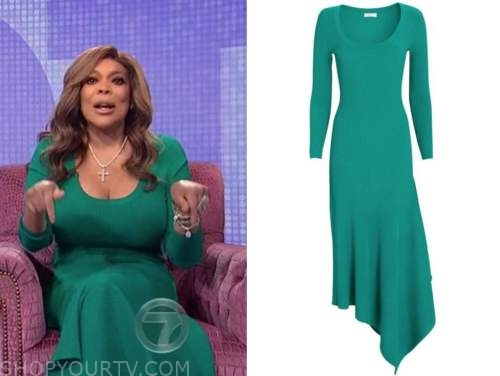 wendy williams, the wendy williams show, green ribbed knit midi dress