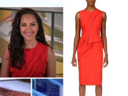 emily compagno, outnumbered, red buckle sheath dress