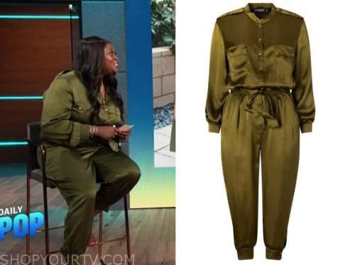 Melissa Chataigne, E! news, daily pop, green jumpsuit