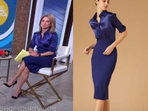 amy robach, good morning america, blue shirt and blue pencil skirt dress