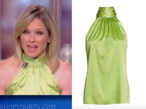 sara haines, the view, lime green silk halter top