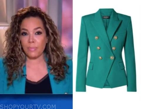 sunny hostin, the view, teal double breasted blazer