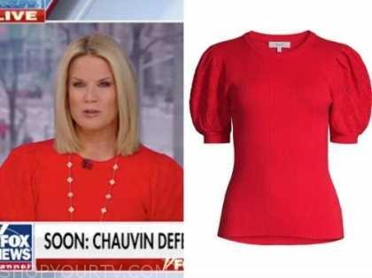 martha maccalum, the story, red puff sleeve sweater top