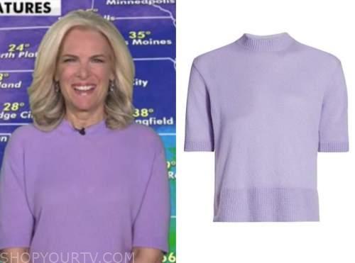 janice dean, purple short sleeve sweater, fox and friends