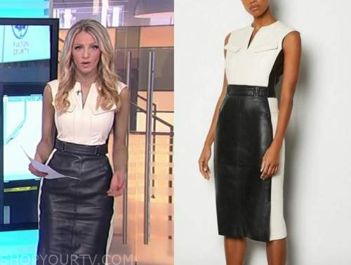 carley shimkus, fox and friends, leather colorblock dress
