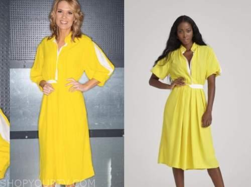 charlotte hawkins, good morning britain, yellow shirt dress