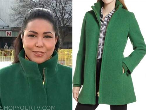 stephanie ramos, good morning america, green zipper coat
