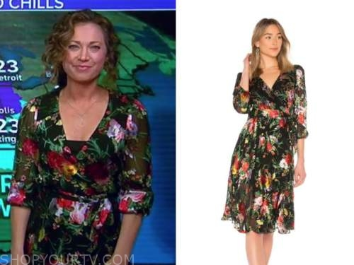 good morning america, ginger zee, black floral wrap dress