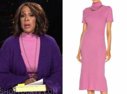 gayle king, cbs this morning, pink ribbed knit mock neck dress