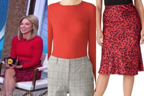 good morning america, amy robach, red knit top, red leopard skirt
