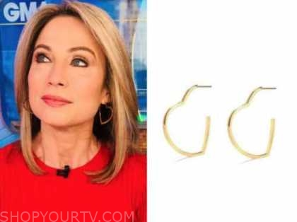 amy robach, good morning america, gold heart hoop earrings