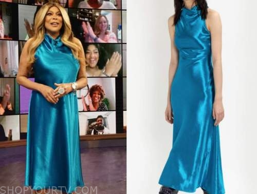 wendy williams, the wendy williams show, blue satin cowl midi dress