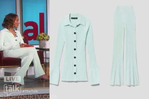 elaine welteroth, the talk, mint green ribbed knit top and pants