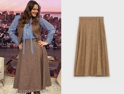drew barrymore, drew barrymore show, brown wool check plaid skirt
