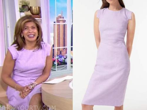 hoda kotb, the today show, lilac purple linen sheath dress