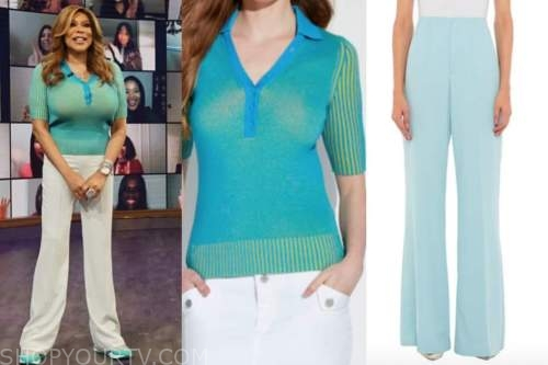 wendy williams, the wendy williams show, blue knit polo sweater top, blue pants