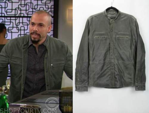 devon hamilton, bryton james, green suede jacket, the young and the restless