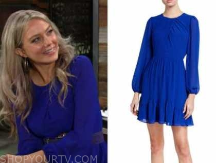 abby newman, melissa ordway, the young and the restless, blue dress