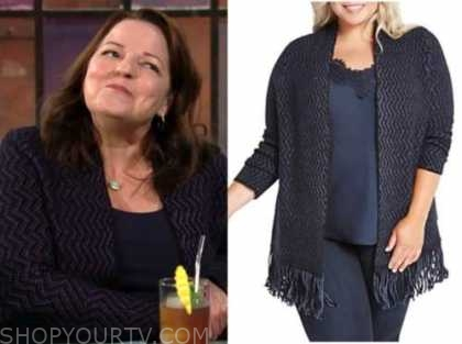 nina webster, tricia cast, the young and the restless, navy blue metallic fringe cardigan