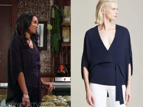 amanda sinclair, mishael morgan, the young and the restless, navy blue drape sleeve top