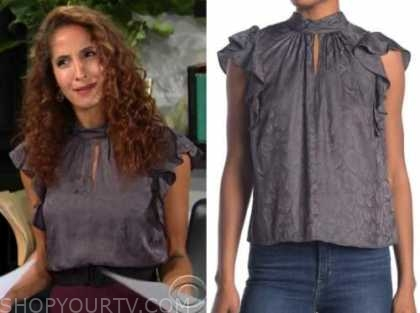 lily winters, christel khalil, the young and the restless, grey snakeskin ruffle top