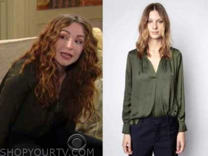 mariah copeland, camryn grimes, the young and the restless, green silk shirt